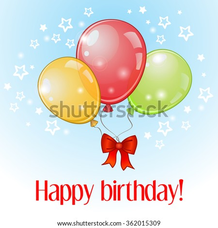 Birthday greeting card with three colorful balloons and red bow - stock vector