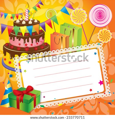 Birthday greetings card  - stock vector
