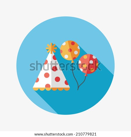 Birthday hat and balloons flat icon with long shadow,eps10 - stock vector