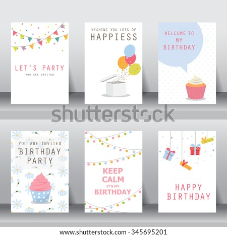 birthday, holiday, christmas greeting and invitation card.  there are balloons, gift boxes, confetti, cup cake. vector illustration - stock vector