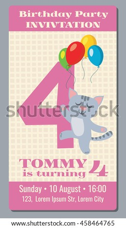 Birthday holiday greeting and invitation with cute cartoon cat vector card 4 years old. Birthday party with cat , card or poster to event birthday illustration - stock vector