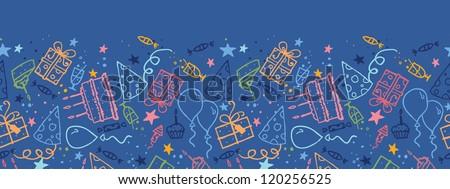 Birthday horizontal seamless pattern background border - stock vector