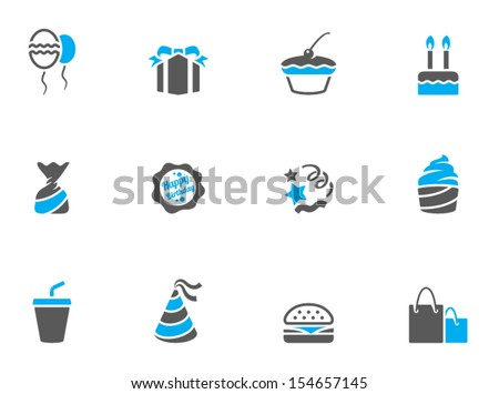 Birthday icons in duo tone colors - stock vector