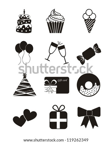 birthday icons over white background. vector illustration - stock vector