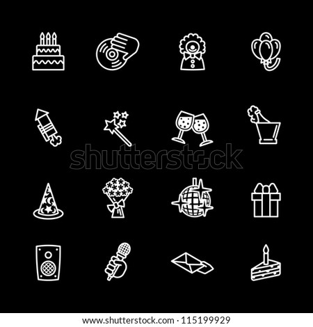 birthday icons set - stock vector