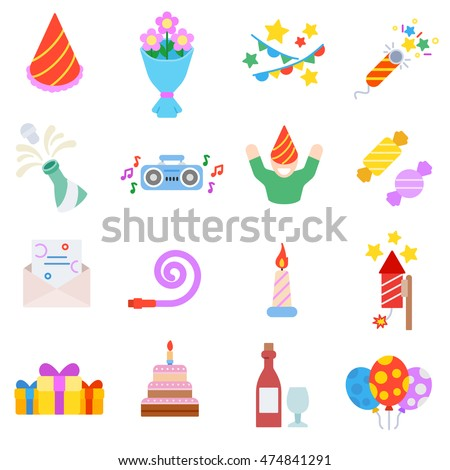 Birthday icons set.  collection. flat design