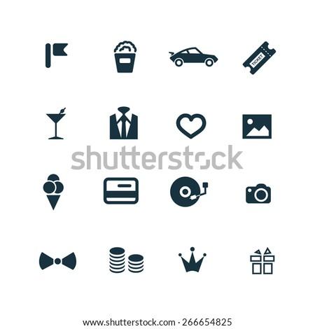 birthday icons set on white background - stock vector