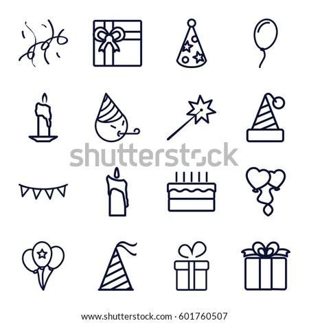 Birthday icons set set 16 birthday stock vector 601760507 set of 16 birthday outline icons such as present gift negle Gallery