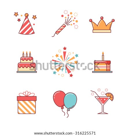 Birthday icons thin line set. Celebration event, cake and fireworks. Flat style color vector symbols isolated on white. - stock vector
