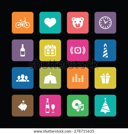 birthday icons universal set for web and mobile - stock vector
