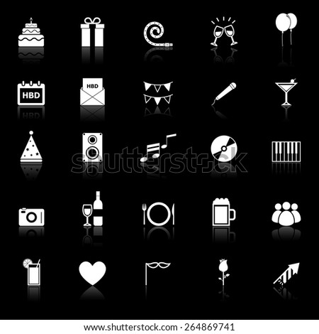Birthday icons with reflect on black background, stock vector - stock vector