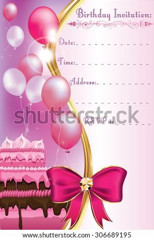Birthday invitation card print printable invitation stock vector birthday invitation card for print printable invitation for a birthday party with balloons and stopboris Images