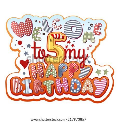 Birthday invitation card 5 years old stock vector 217973857 birthday invitation card 5 years old stopboris Gallery