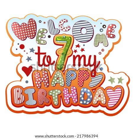 Birthday Invitation Card 7 Years Old Stock Vector Royalty Free