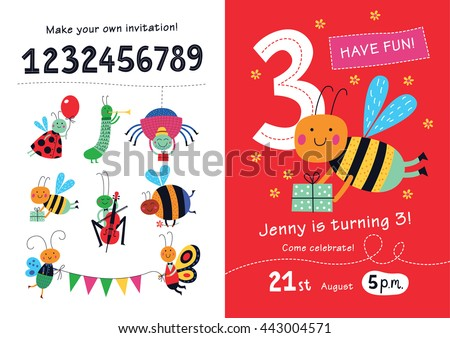 Birthday invitation. Collection of cute insects and numbers in childish style for designing own posters and invitation cards.Vector isolated illustration. - stock vector