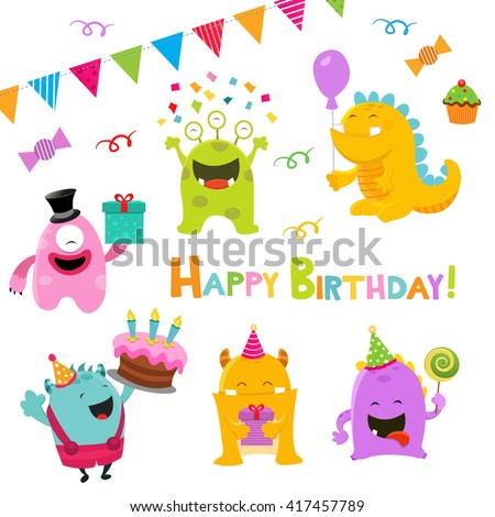 Birthday Monsters Set - stock vector