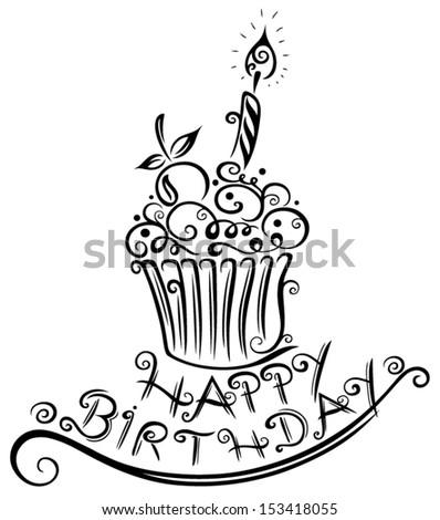 Birthday muffin, cupcake - stock vector