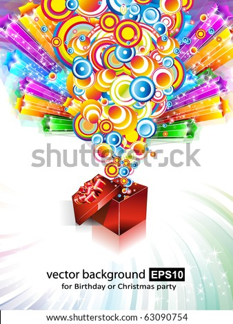 Birthday or Christmas Gift Card with an Explosion of Stars - stock vector