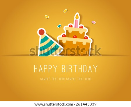 Birthday Paper Cut card with Cake and Party Hat - stock vector