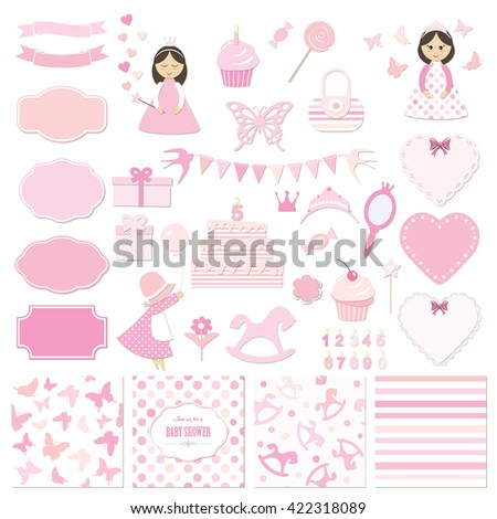 Birthday party and girl baby shower design elements set. Frames, stickers, seamless patterns. Pastel pink colors. Isolated on white. - stock vector