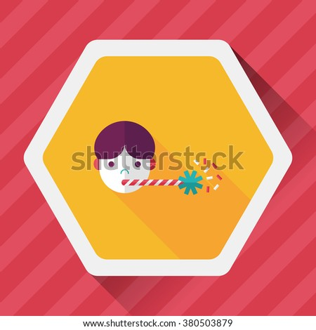 Birthday party boy flat icon with long shadow,eps10 - stock vector