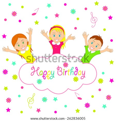 Birthday party card.boy and girl smiling cheerfully raising his hands , illustration, vector - stock vector