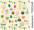 birthday party card with balloon and cupcake - stock vector