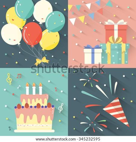 birthday party celebration set in flat design   - stock vector