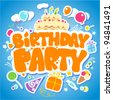 Birthday Party design template for children. - stock vector