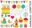 Birthday party design vector elements set - stock photo
