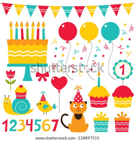 Birthday Party Design Vector Elements Set Stock Vector 128897555 ...