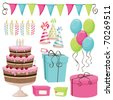 Birthday party elements - stock vector