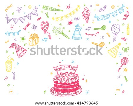 Birthday party elements vector set. Happy birthday card Template. Birthday elements. Hand Drawn Doodle birthday cake, sweets, bunting flag, balloons, gift, festive paper cap, festive attributes  - stock vector