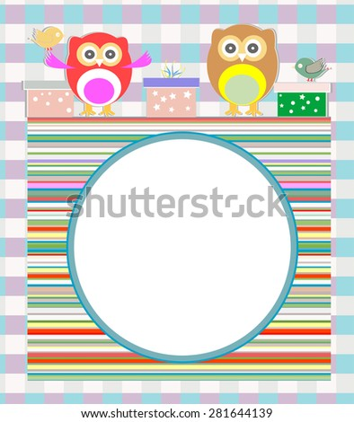 birthday party elements with cute owls and birds vector - stock vector