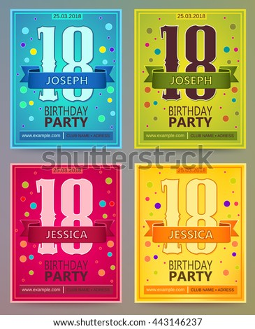 Birthday Party Flyers Invitations Vector Templates Stock Vector