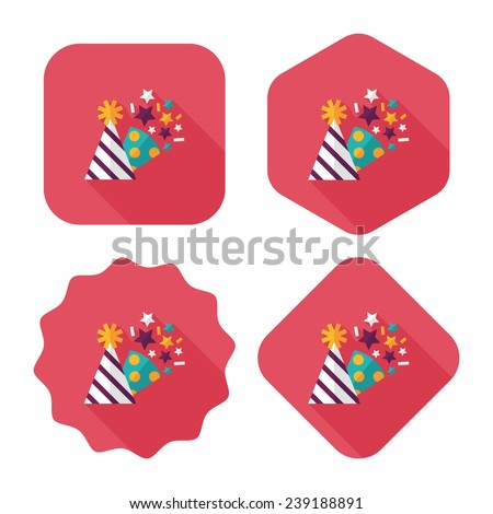 birthday party hat flat icon with long shadow, eps10 - stock vector