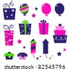 Birthday party icons and elements isolated on white - pink, blue Cute icons collection in vibrant tones. Vector cartoon collection. - stock vector