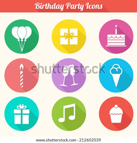 Birthday Party Icons Set - Flat Design Vector EPS10 - stock vector