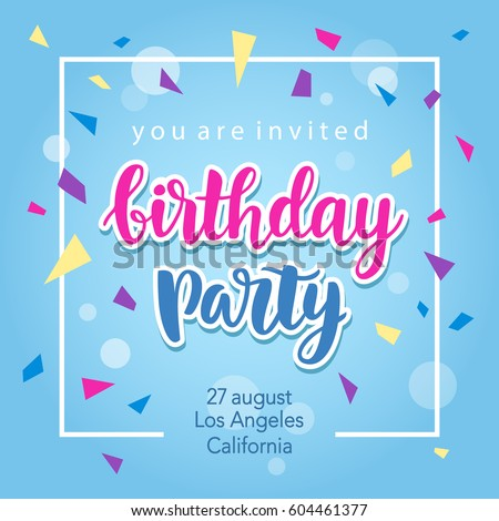 Birthday party invitation banner template hand stock vector birthday party invitation banner template with hand written calligraphy vector illustration stopboris Gallery