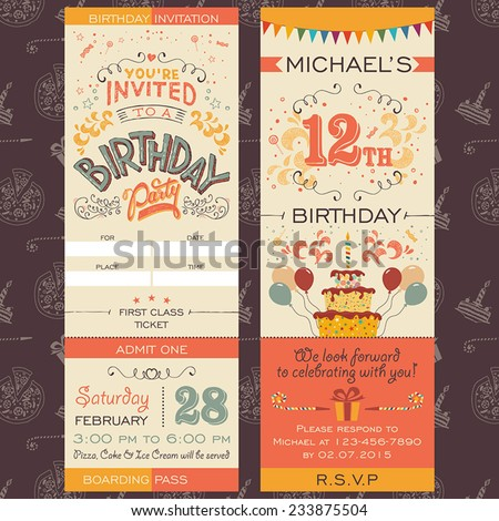 Birthday party invitation boarding pass ticket stock vector birthday party invitation boarding pass ticket face and back sides stopboris Image collections