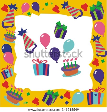 Birthday party invitation border, with extras - stock vector
