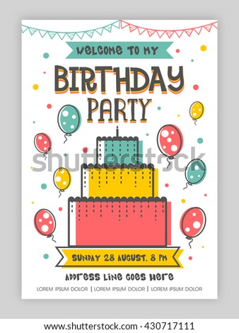 Birthday party invitation card welcome card stock vector hd royalty birthday party invitation card or welcome card design stopboris Image collections