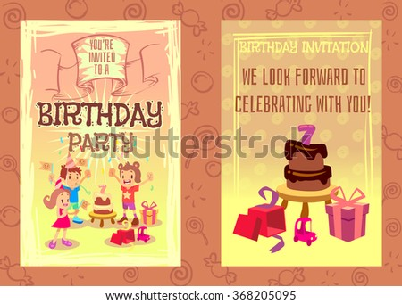 Birthday party invitation card vector template. Celebration design, gift and cake illustration - stock vector