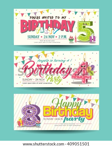 Birthday Party Invitation Card with Funny Character - stock vector