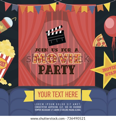 Movie Party Hollywood Party Invitation Card Stock Vector 437869147