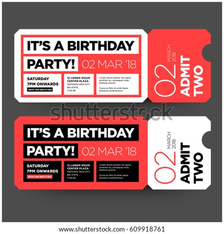 Birthday party invitation flat ticket style stock vector royalty birthday party invitation in flat ticket style design with venue date and time details stopboris Gallery