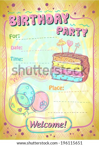Birthday party invitation with place for text. Eps10 - stock vector