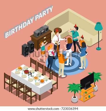 birthday party isometric composition feast table stock vector