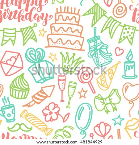 Birthday party lettering and doodle seamless pattern