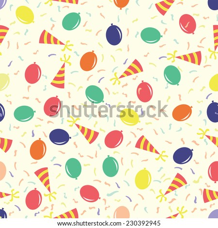 Birthday party seamless pattern with funny cap and air balloon for gift wrapping. Vector, EPS 10 - stock vector